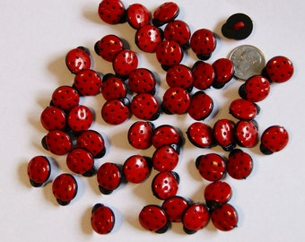 24 Red LADY BUGS Buttons ,Whimsical Bugs, Shank back  (AH 10)