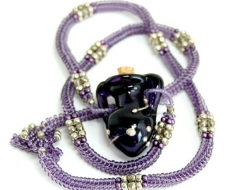 Violet Lampwork Glass Amphora Beadwoven Necklace