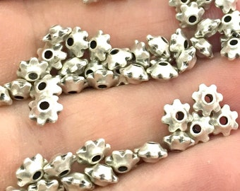 20 Antique Silver Plated Metal Rondelle Beads 20 Pcs (6 mm)   G4565