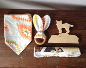 Aztec Sunset Baby Bib Set, Feathers Bandanna Bib, Wood Teether, Burp Cloth, Wood Block, Desert Landscape, Peach Yellow Gold Pale Blue