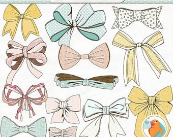 SALE - Bow Clip Art, Baby Shower Images, Ribbon Digital Graphics, Tied Pink Bow, Printable Bow ClipArt, Illustration Digital Download, Wispy