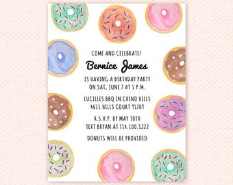DIY Printable Watercolor Donut Shop Invitation, Donut Party Shower Brunch Invitation