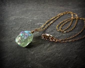 African Green Aquamarine Gemstone Pendant Raw Aqua Marine Titanium Flash Pale Green Gemstone March Birthstone Necklace Minimalist Nugget