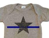 Thin Blue Line Baby onesie Bodysuit Police Support Dark Gray Blue