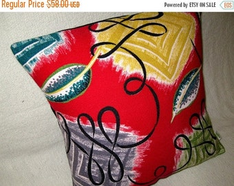 """ON SALE LAST One - Retro, Mid Century Modern Pillow Cover -- Vintage Red Miami Vibe - 1950s Barkcloth - Shown with 18"""" x 18"""" insert"""