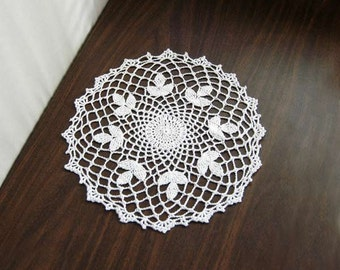 White Clover Crochet Lace Doily, New Table Topper, Modern Home Decor