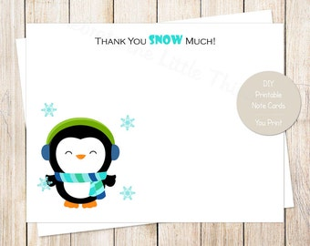 PRINTABLE penguin thank you cards . winter wonderland . birthday note cards notecards stationery . blue green | INSTANT DOWNLOAD
