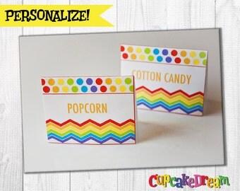 Rainbow Birthday, Food Label Tent Cards