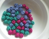 Moroccan art silk  beads/buttons,handmade, flowers rosebud hot pink turquoise and dark serenity, set of 50