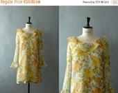 40% OFF SALE // Vintage 1960s ruffle collar shift mini dress. Vintage chiffon dress. 60s floral print minidress