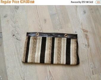 40% OFF SALE // Vintage 1970s clutch. 70s wool striped bag
