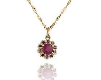 Bridal Necklace, 14K Ruby Flower Wedding Necklace, Black Diamond Necklace, Ruby Jewelry, Bridal Jewelry, Ruby Wedding Pendant Necklace