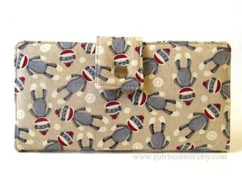 Handmade wallet women clutch - Cute sock monkey wallet - ID clear pocket - Ready to ship - gifts for her - vegan purse