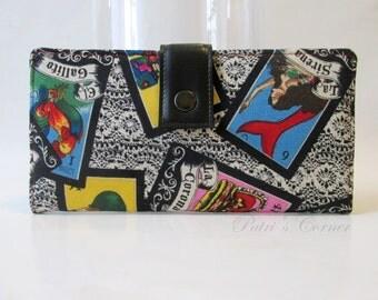 Handmade women wallet - Loteria card game - skulls - cream lace black background - ID clear pocket - purse clutch - custom order