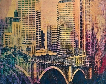 NEW, colors, Minneapolis Bridge and Buildings, digital art photo, abstract, Minnesota photo, office, great room, Mississippi river, collage