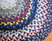 Ready To Ship 3' x 5' Area Handmade Wool Oval Rug / Carpet in Shades of Blue with Red /Yellow Accents from recycled wools
