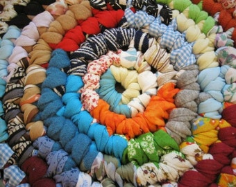 Ready To Ship Handmade Colorful Crochet Round Rug / Rag Rug/ Carpet for Nursery / Children's Room / Playroom / Bathroom from recycled fabric