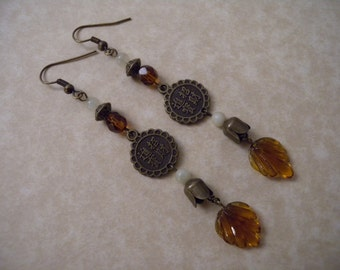 Autumn Leaf, Brass Chinese Coin, and New Jade Chime Earrings