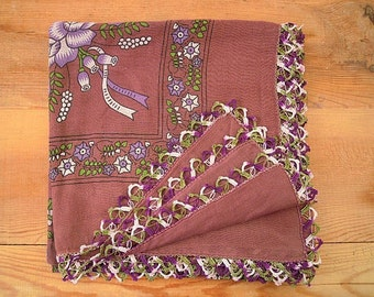 scarf with oya trim, aubergine purple