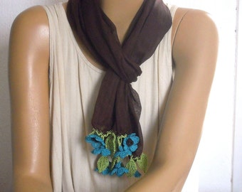brown scarf with turquoise flowers, crochet cotton scarf