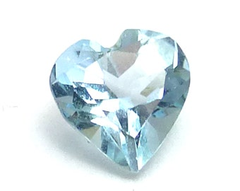 Aquamarine Loose Gemstone Tiny Heart Traditional Gem Cut Stacking Rings Ring Sky Translucent Light Blue Aqua Cushion AAA Grade One of a Kind