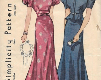 Gorgeous Vintage 1930's Misses Evening Gown With Jacket Pattern, Deep V Back, Simplicity 2327