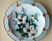 """Bradford Exchange """"Rose Colored Dawn"""" Morning Jewels by Lena Liu -Collector's  HUMMINGBIRD Plate #C1866-1st Issue"""