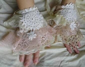 cuff, victorian, shabby chic, steampunk , lace cuff, goth, jane austen, layers and frills, textile cuff, romance, vintage style, mori girl