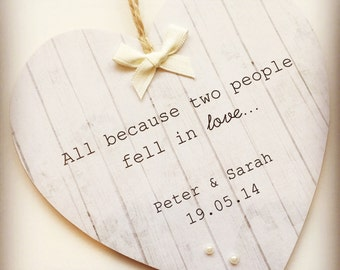 Handmade Personalised Wooden Wedding/Valentines Gift Plaque/Sign Heart Keepsake