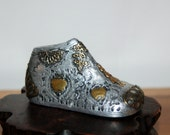 Thankful / Praying for a Little Girl ~ Altar ~ Religious Folk Art ~ Mexican Tin & Copper Milagros Charms on Tin Foil Mesquite Wood Baby Shoe