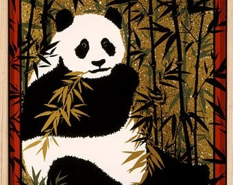 "Giant Panda ~ from Felice Regan ""Endangered Species' series 1982 ~ Framed"