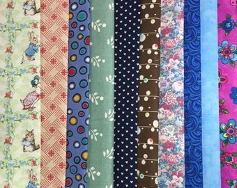 Quilt Fabric Collection - Cotton Fabric Collection - Craft Fabric Remnants - Piecing Fabric - Quilt Piecing - Fabric Remnants