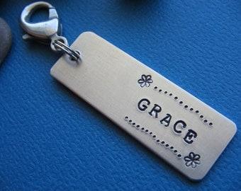 Zipper Charm, Custom Zipper Pull, Kids Zipper Pull, Backpack Charm, Purse Charm, Custom Name Tag, Custom ID Tag, Stamped ID Tag, Zipper Tag