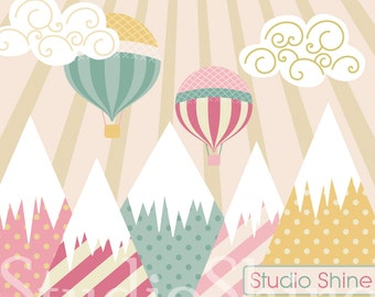 Mountain Clipart   Dreaming of Adventure   Mountain and Hot Air Balloon Clip Art PNG EPS Vector Instant Download Personal and Commercial Use