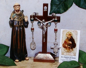 Unbreakable Catholic Third Class Relic Chaplet of St. Francis of Assisi - Patron of Animals, Birds, Ecologists, Families, Peace and Zoos