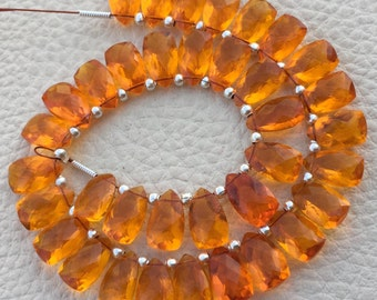 Brand New, Full 6 Inch Strand, Mandarin Garnet QUARTZ Faceted Pyramid Shape Briolettes,10x6mm size,Superb Item at Low Price