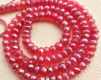 Brand New, 8 Inch Strand,Superb-Finest Quality Mystic Grapefruit Pink CHALCEDONY Faceted Rondelles, 8-9mm size,Great Item