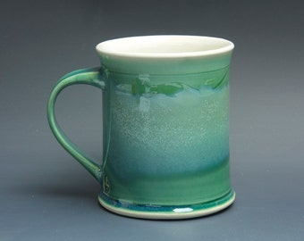 Pottery coffee mug, ceramic mug, stoneware tea cup jade green 14 oz 3484
