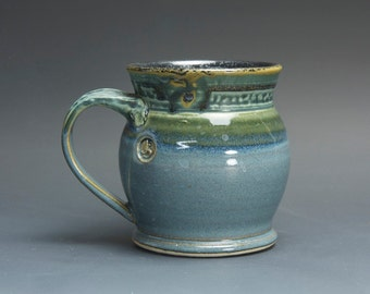Handmade white stoneware coffee mug teacup glossy medium blue 14 oz 3072