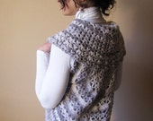 SALE 65% LAST CHANCE Vest - Womens Vest - Hand Crocheted Dolly Circle -  Elegant Vest in light grey shades