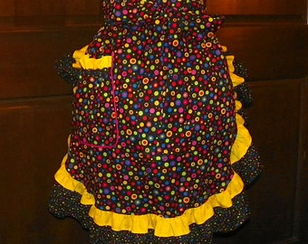 Fun, Flirty, Sassy Hostess 24 In Multi Color Dots by Nanasaprons Handmade for Fun Cooking Baking