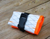 Saddle Tool Roll - White X-Pac Ripstop Fabric with Orange Trim