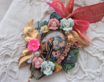 Vintage necklace In the spring colors flowers  and bird