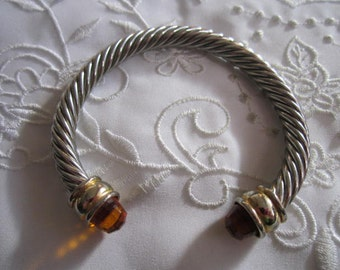 Vintage Silver and Gold Tone Rope Patterned Bangle Bracelet with Gold Faceted Crystal Ends