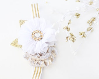 Rainbow's End - metallic white and gold st patrick's day rosette bow headband