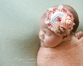 Just Desserts-  peach tan and coral gingham headband M2M happy and free just scrumptious
