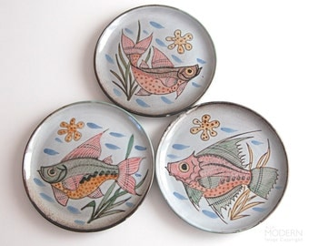 3 Vallauris France Hand Painted Fish Pottery Plates