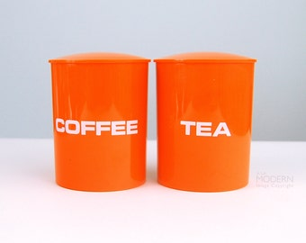 Danish Design Orange Coffee and Tea Plastic Covered Canisters