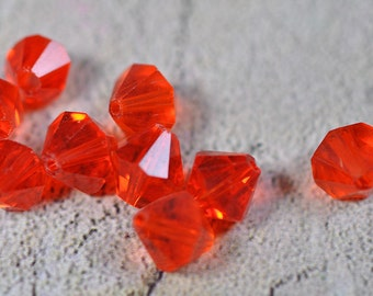 Chinese crystal, bicone, orange/red, 8x8mm, #423