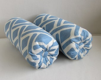 PAIR linen bolsters pillow blue ivory/white 6x14 6x16 6x18 6x20 6x22